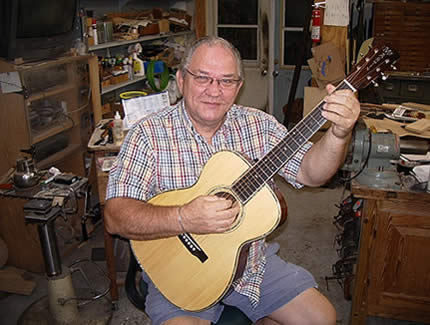 The legendary Randy Wood, putting the finishing touches on my             1930s Martin